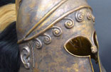 AA7. Greek Corinthian Helmet, decorated. Horsehair crest and Brass. 5th century B.C.